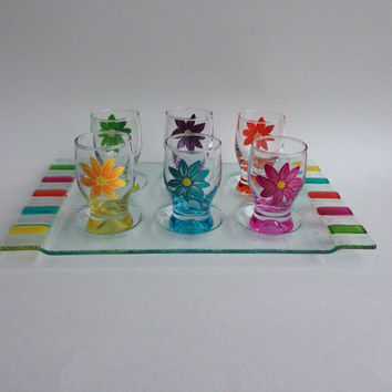 Shot Glasses Set of 6 with Tray Handpainted Daisies