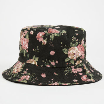 Floral Reversible Womens Bucket Hat Black Combo One Size For Women 24929114901
