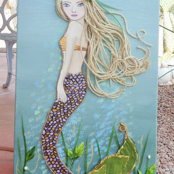 Mermaid Art Original Beach Collage on Canvas Blonde Hair, Blue Eyes, Ocean Decor 12X24 inches