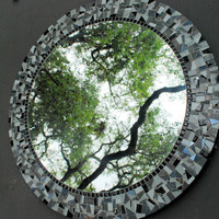 Black and White Round Mosaic Mirror