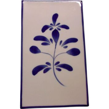 Blue White Vintage Flower Tile Large Kitchen Home Decor