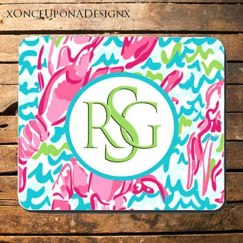 Lily Pulitzer Inspired Mouse Pad Lily Pulitzer Mousepad Custom Mousepad Colorful Mouse Pad Monogram Mouse Pad Monogrammed Mouse Pad
