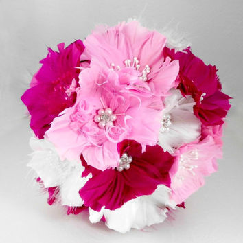Couture Bouquet, Wedding Bridal Bouquets,Pink Feather Bouquet, Brooch Bouquet,  White, Fuschia, Cotton Candy Pink
