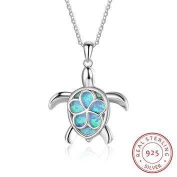 Lovely Tiny Turtle Blue Fire Opal Fashion 925 Sterling Silver Necklace with Chain