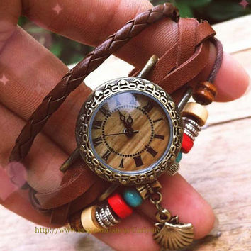 Shell beach leather bracelets table, ladies watch that restore ancient ways, students personality cowhide fashion statement