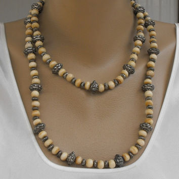 Extra Long Bone and Ornate Silver Bead Necklace Vintage Flapper Jewelry