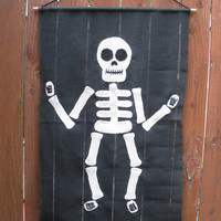 Large Crochet Skeleton Door or Wall Hanging on Black Burlap, OOAK Halloween Decor, ready to ship