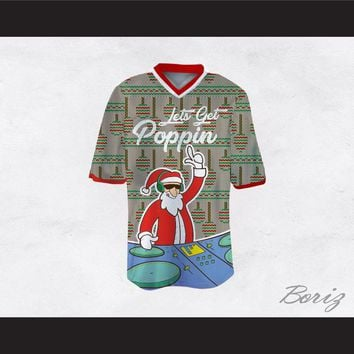DJ Santa Claus Let's Get Poppin Ugly Christmas Sweater Print Gray Football Jersey