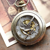 Hunger Games Pocket Watch Necklace With Golden Dots,Mockingjay Watch Necklace
