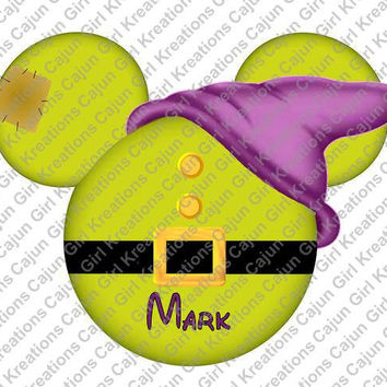 Snow Whites Dopey Mickey Mouse Head Disney World Personalized w/ Name/Date Printable Iron On Transfer DIY Instant Download