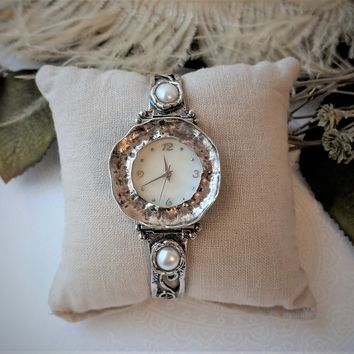 Unique Artisan Crafted Sterling Silver Genuine Pearl Ladies Watch