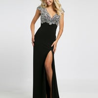 Black v-neckline prom dress 98235 - Prom Dresses