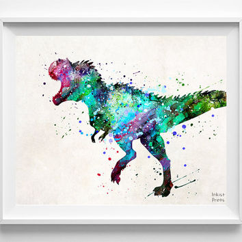 Tyrannosauarus Dinosaur Print, Dinosaur Watercolor, Dinosaur Art, Kids Room Decor, Boy Room Decor, Baby Room, Wall Art Prints