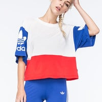 Adidas Originals La Trefoil Logo Womens Tee White Combo  In Sizes