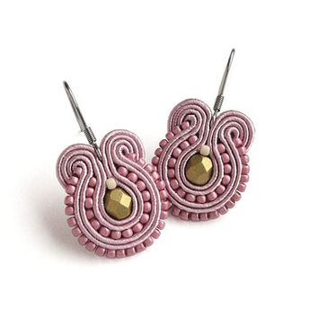 Pink and Gold Earrings Light Pink Earrings Rose Pink Earrings Soutache Earring Surgical Steel Earring for Sensitive Ears