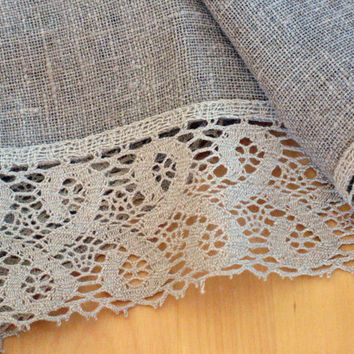 "Linen Tablecloth Burlap Square Prewashed Natural Gray Linen Lace 57"" x 57"""