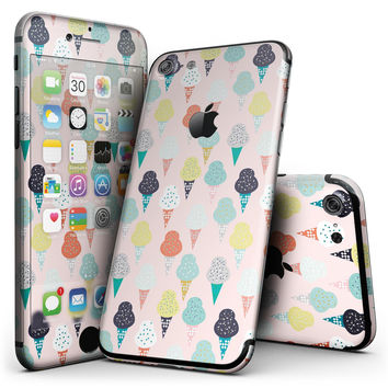 The All Over Pink Ice Cream Cone Pattern - 4-Piece Skin Kit for the iPhone 7 or 7 Plus