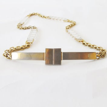 chic VINTAGE mod 60's/70's gold chain & lucite perspex belt