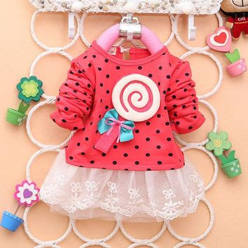 Baby Girl Polka Dot Dress Lollipop Bow Long Sleeve Cotton Cozy Dress 2-4Y NEW