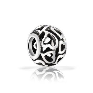 Bling Jewelry Open Heart Bead Filigree 925 Sterling Silver Compatible with Pandora Bead Charms