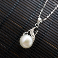 Single Pearl Necklace - Flawless Phoenix Pearl - Genuine Freshwater Pearl Necklace - Tiny Siver Necklace