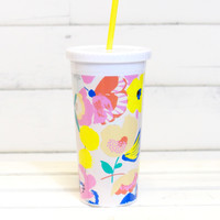 Sip Sip Tumbler with Straw {Mega Blooms}