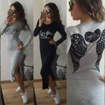 Long Vestidos autumn  Back Angel Wings Print Dress 2016 Women's Casual long Sleeve Dress Plus Size Vestidos For Ladies