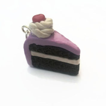 Charm ~ Chocolate Cake with Purple Frosting and Cherry ~ Polymer Clay Charm ~ Necklace Charm ~ Bracelet Charm ~ Inedible Art ~ Made to Order