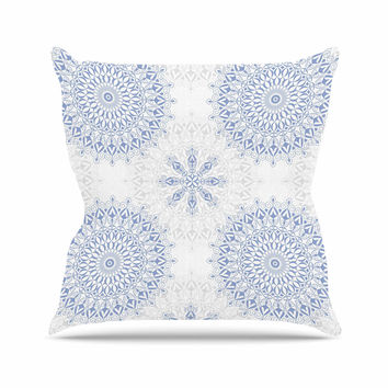 "Julia Grifol ""Mandalas In Blue"" Vector Geometric Outdoor Throw Pillow"