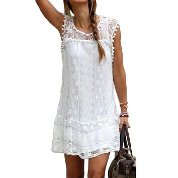 Sleeveless Lace Short Dress With Pom Poms (Plus Sizes)