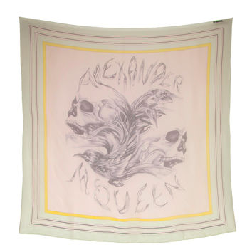 Alexander McQueen Skull and Bird Silk Scarf