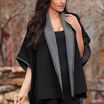 Reversible poncho coat, seamless cami