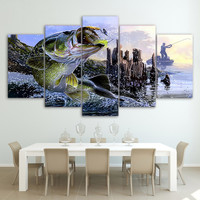 5 PIECE LARGEMOUTH BASS FISHING CANVAS
