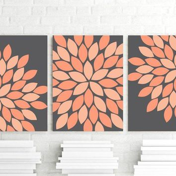 Coral Peach Gray Flower Bedroom Wall Art, Flower Petal Wall Art CANVAS or Prints, Charcoal Peach Coral Flower Bathroom Decor, Set of 3 Art