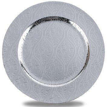 Moslem Pattern Round Plastic Charger Plate With Electroplating Finish,Silver,Set of 4