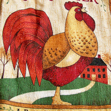 Rooster Towels Hanging Dish Towels Crochet Button Top Towels Country Kitchen Towels Hand Towels
