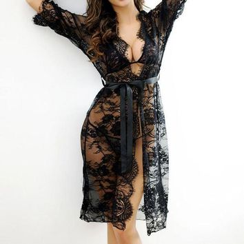 MDIGON 2017 Sexy Women Nightgowns & Sleepshirts Three Quarter O Neck Nightgowns Solid Lace Transparnet Hollow Out Dress
