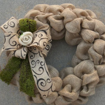 "18""   Burlap Wreath with burlap rose and scroll printed ribbon and Moss, door wreath, wall decor"