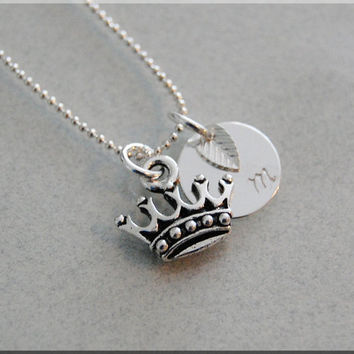 Personalized Crown Necklace, Royal Crown Necklace, Princess Jewelry, Initial charm necklace, Personalized Fairy Tale Charm, monogram jewelry
