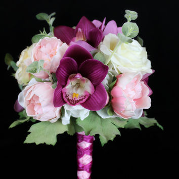A Peony, Orchid and Rose Dream Wedding Bouquet Collection