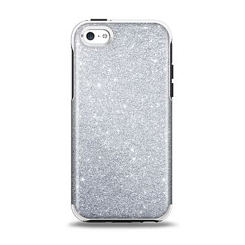 The Silver Sparkly Glitter Ultra Metallic Apple iPhone 5c Otterbox Symmetry Case Skin Set