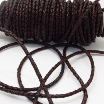 "Leather braided bolo cord....20 yards of antique brown color.....5mm size (1/5"")  e2072"