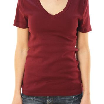 J. Crew Women's Short Sleeve V-Neck Basic T-Shirt Maroon/ Red