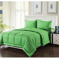 Tache 3-4 Piece Solid Spring Green Box Stitched Comforter Set (3-4PCOM-BOXES-Green)