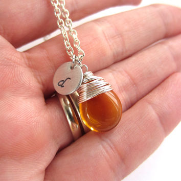 Topaz Necklace Initial Necklace Wire Wrapped Jewelry November Birthstone Necklace Gift for Her Personalized Jewelry
