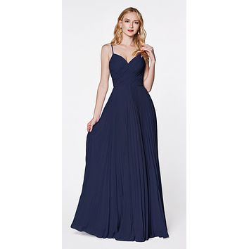 Long Pleated Semi Formal Dress Spaghetti Straps Navy Blue
