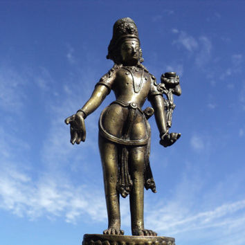Bronze Statue of Padmapani The Lotus Bearer Hindu Deity Buddhist Bodhissattva of Compassion Meditation Statue of Serene Compassion