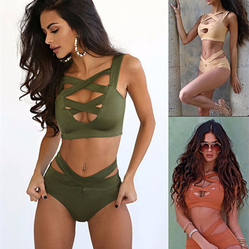 Swimsuit Solid Sexy Monokini Two Piece Swimsuit Beach Wear Swimwear Women Bathing Hollow Bikini Suits Swimming Suit