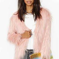 Womens Long Hair Faux Fox Fur Warm Coat Ladies Fashion Winter Outwear Jacket Fur Topwear Pink color Free Shipping S M L XL XXL WT122