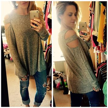 Cut It Out Top - Heather Grey